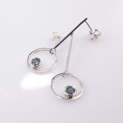 Sterling Silver and 9ct Yellow Gold drop-stud Earrings featuring Round Cut Blue Sapphires. Reference Code: LJ-E/SE5187/SA