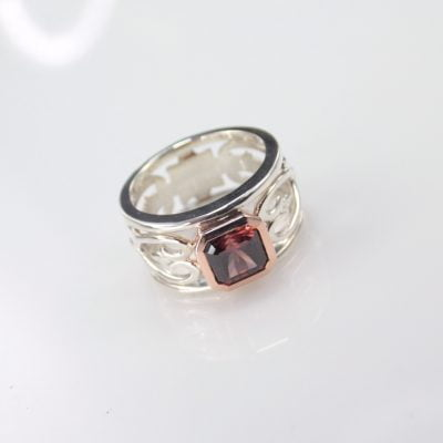 """9ct Rose Gold and Sterling Silver ring featuring a """"Dusky Pink"""" colour Ascher cut Zircon. Reference Code:LJ-R132-B"""