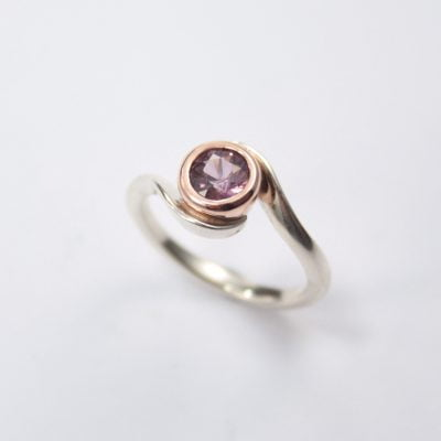 9ct Rose Gold and Palladium Silver Ring, featuring a Lavender colour Round Cut Spinel. Reference Code:LJ-R257-B
