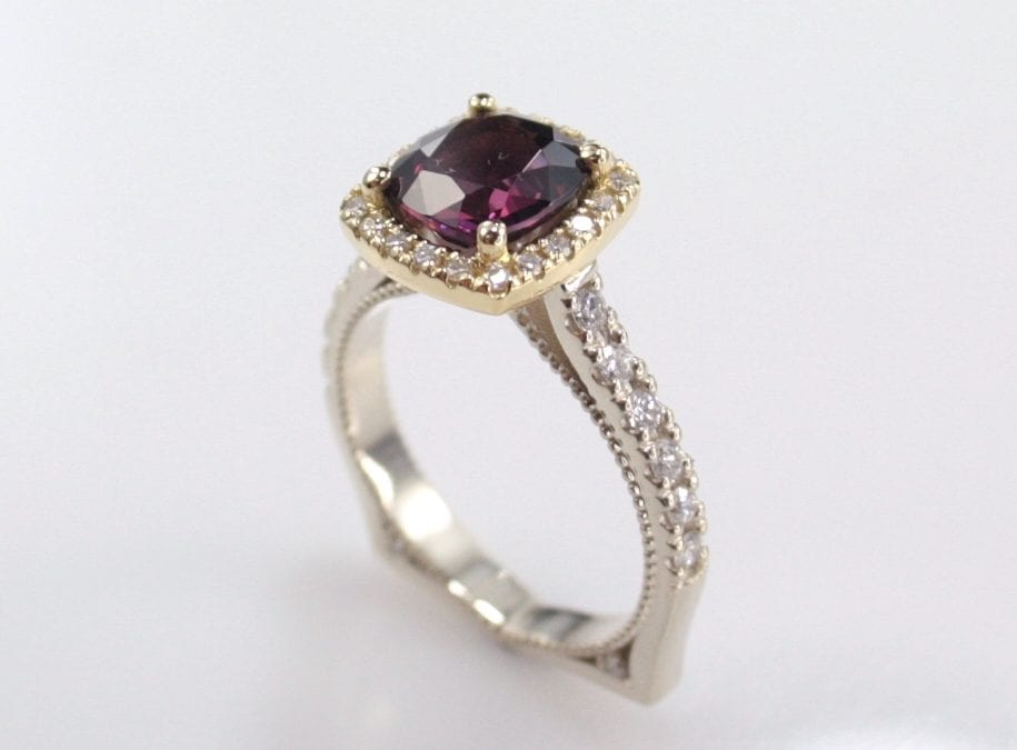 Diamond and Spinel Princess Ring