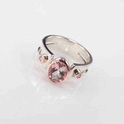 9ct Rose Gold and Sterling Silver Ring featuring a 2.00ct Oval Cut Morganite, plus 2x 1.80mm Round Brilliant Cut G/SI Diamonds. Reference Code: LJ-R338