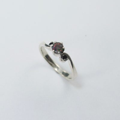 Silver Palladium Ring featuring a Round Cut Opal, plus 2x Round Brilliant Cut Black Diamonds. Reference Code: LJ-RSS-07