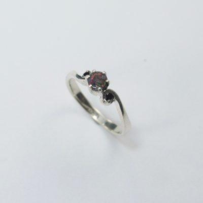 Silver Palladium Ring featuring a Round Cut Opal, plus 2x Round Brilliant Cut Black Diamonds. Reference Code:LJ-RSS-07